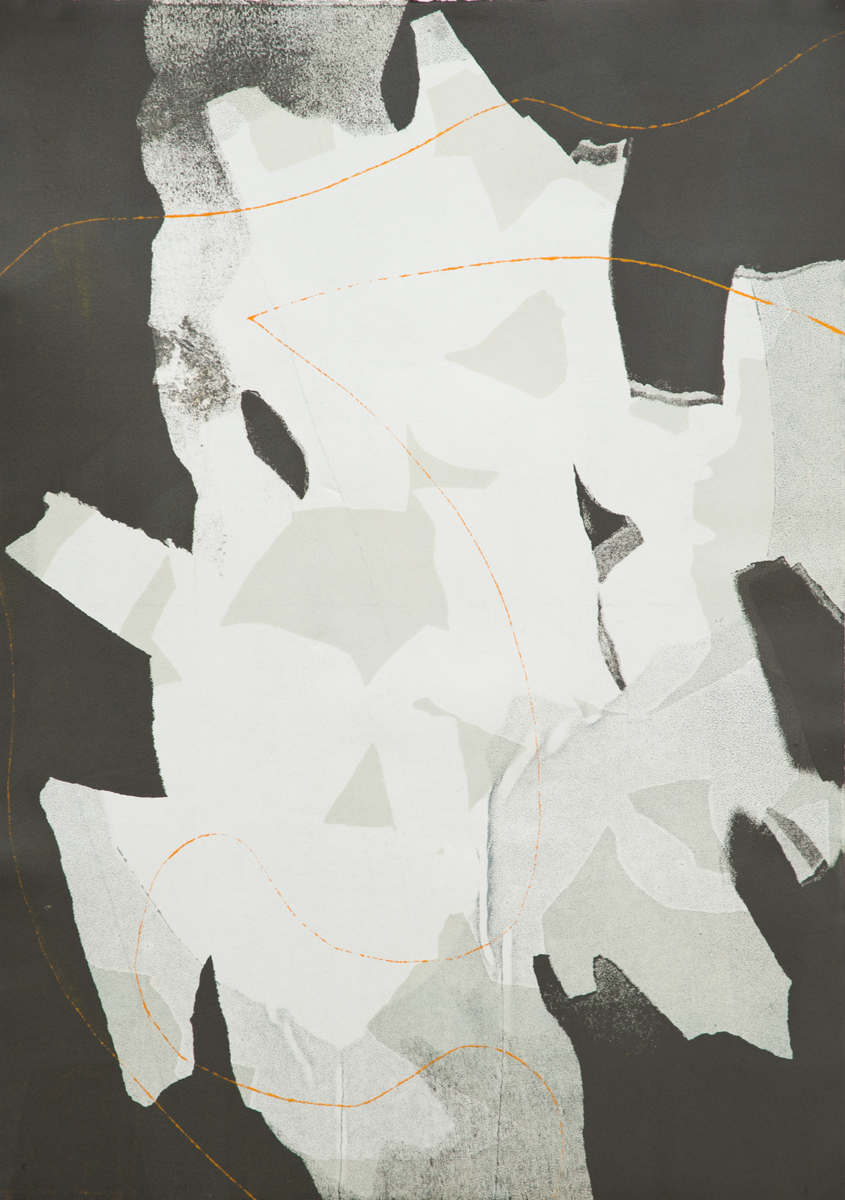 Untitled 5, Tom Vessel Series , 2014 Monotype Image & paper size: 42.5 x 30.25 inches