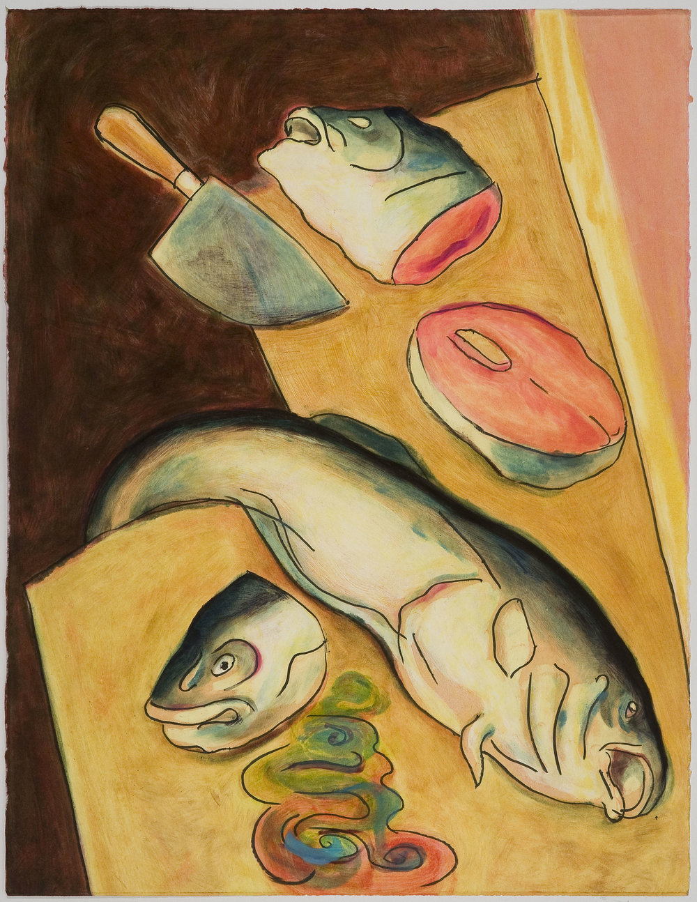 Chopped Fish Heads   (II) , 2010 Monotype Image and paper size: 30 x 22 inches Series of 4