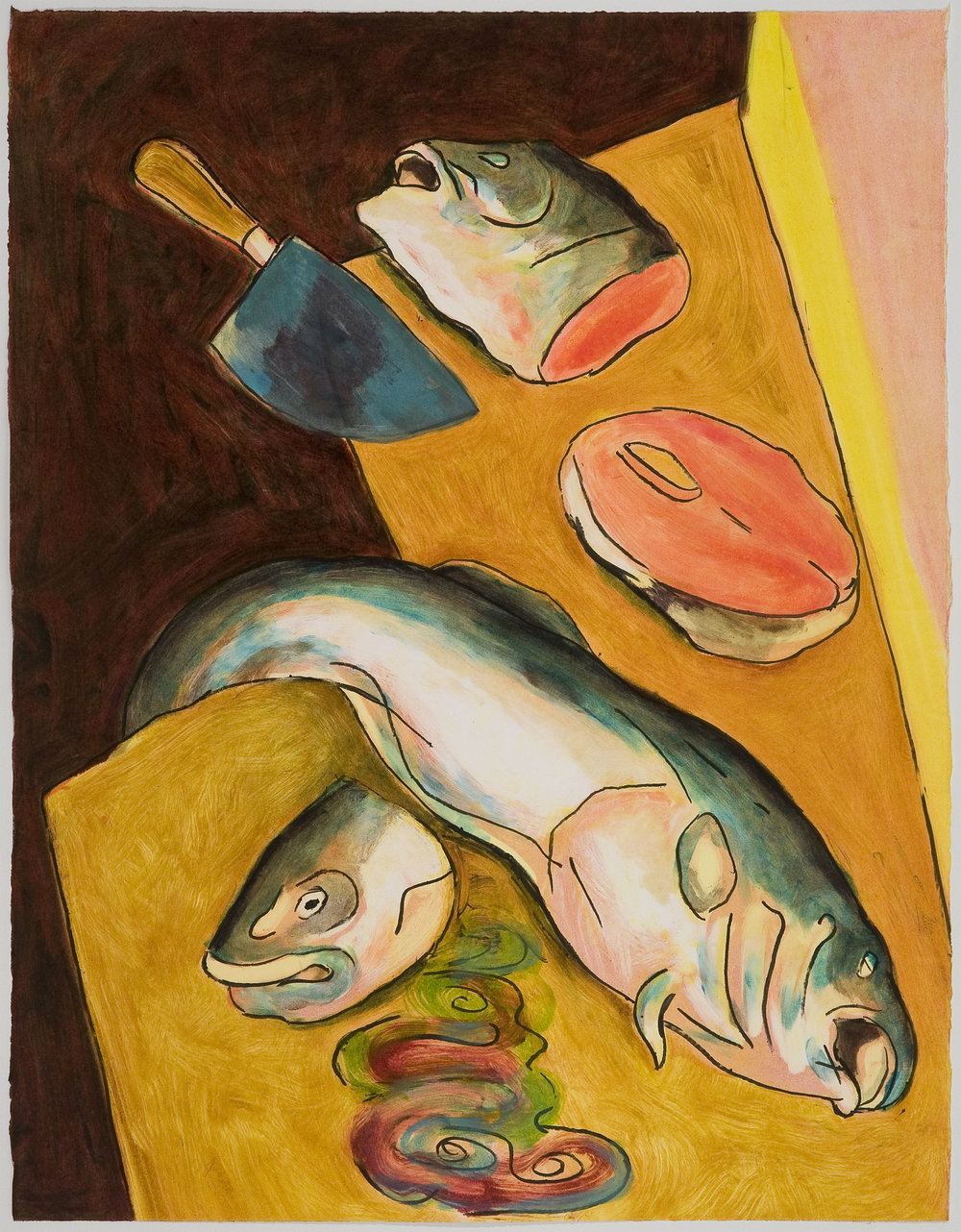Chopped Fish Heads   (I) , 2010 Monotype Image and paper size: 30 x 22 inches Series of 4