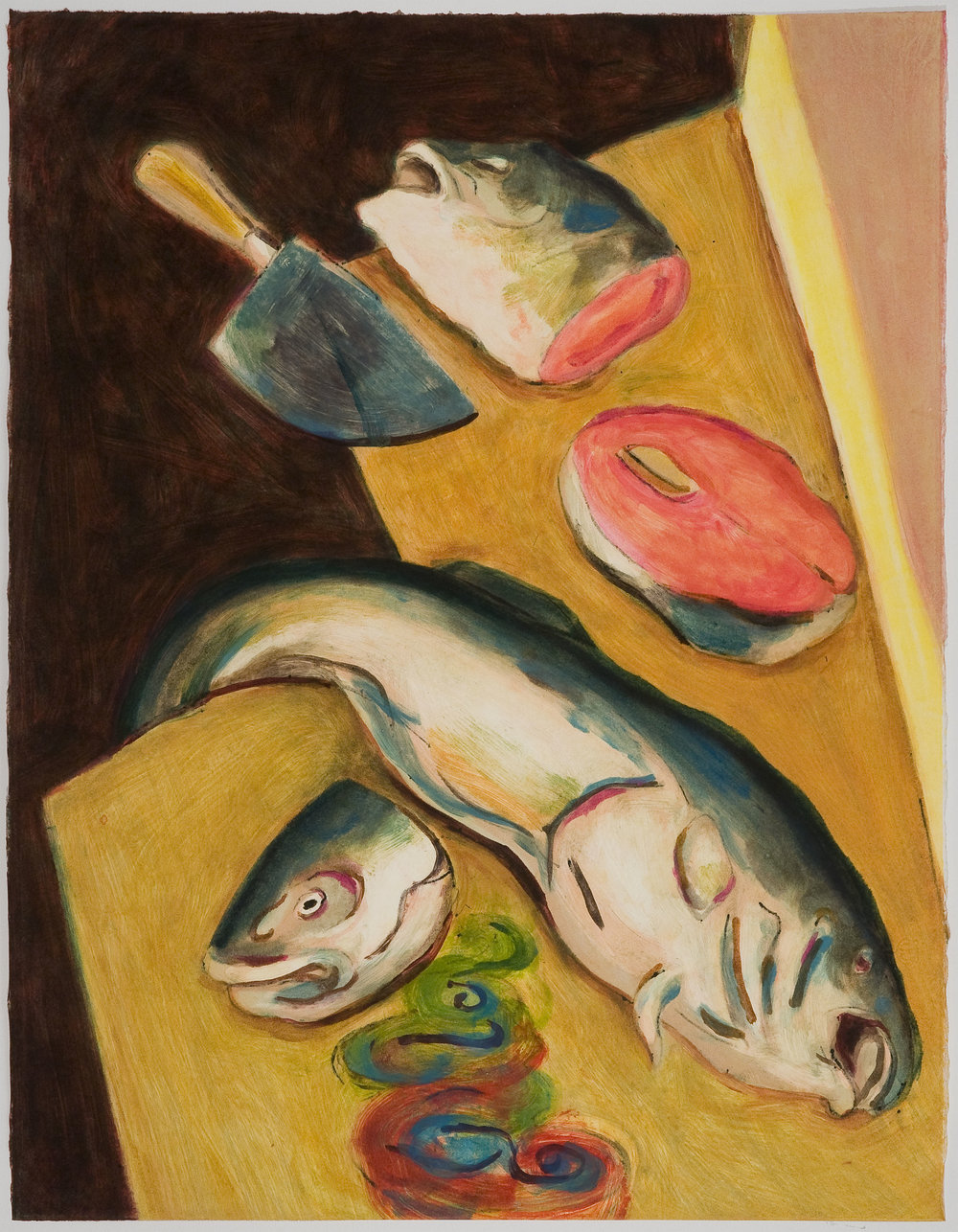 Chopped Fish Heads   (III) , 2010 Monotype Image and paper size: 30 x 22 inches Series of 4
