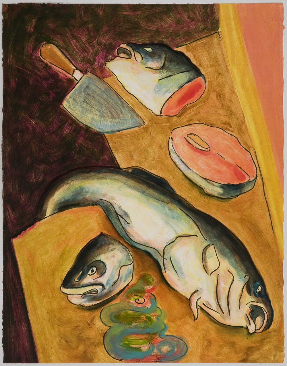 Chopped Fish Heads   (IV) , 2010 Monotype Image and paper size: 30 x 22 inches Series of 4