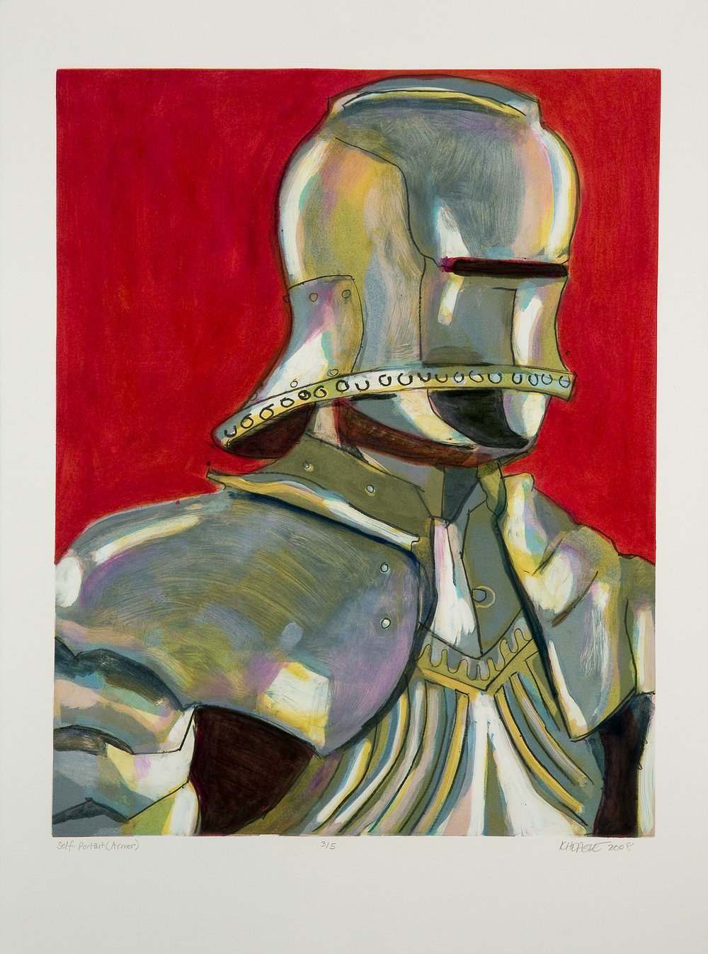 Self Portrait (Armor) (III) , 2008 Monotype Image size: 18.75 x 23.75 inches Paper size: 22 x 30 inches Series of 5
