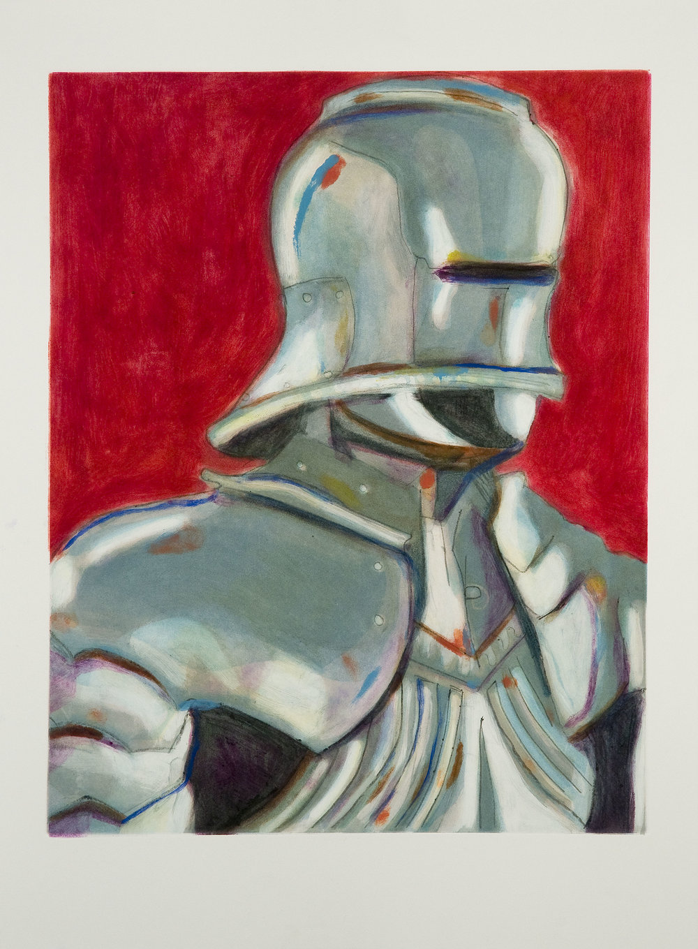 Self Portrait (Armor) (IV) , 2008 Monotype Image size: 18.75 x 23.75 inches Paper size: 22 x 30 inches Series of 5