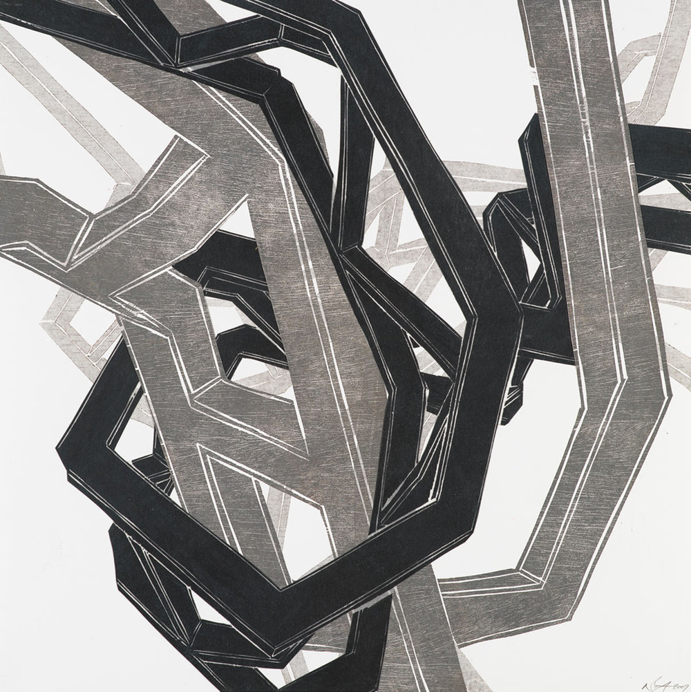 Steel Embrace (III) , 2009 Woodcut on paper with woodcut on mylar collage Image size: 23.5 x 23.5 inches Series of 4