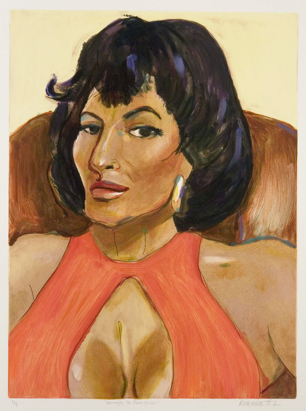 Homage to Pam Grier (I) , 2007 Monotype Image size: 24 x 17.5 inches Paper size: 30 x 22 inches Series of 4