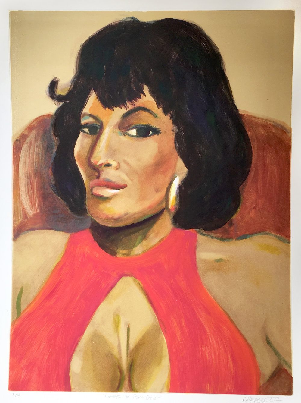 Homage to Pam Grier (II) , 2007 Monotype Image size: 24 x 17.5 inches Paper size: 30 x 22 inches Series of 4