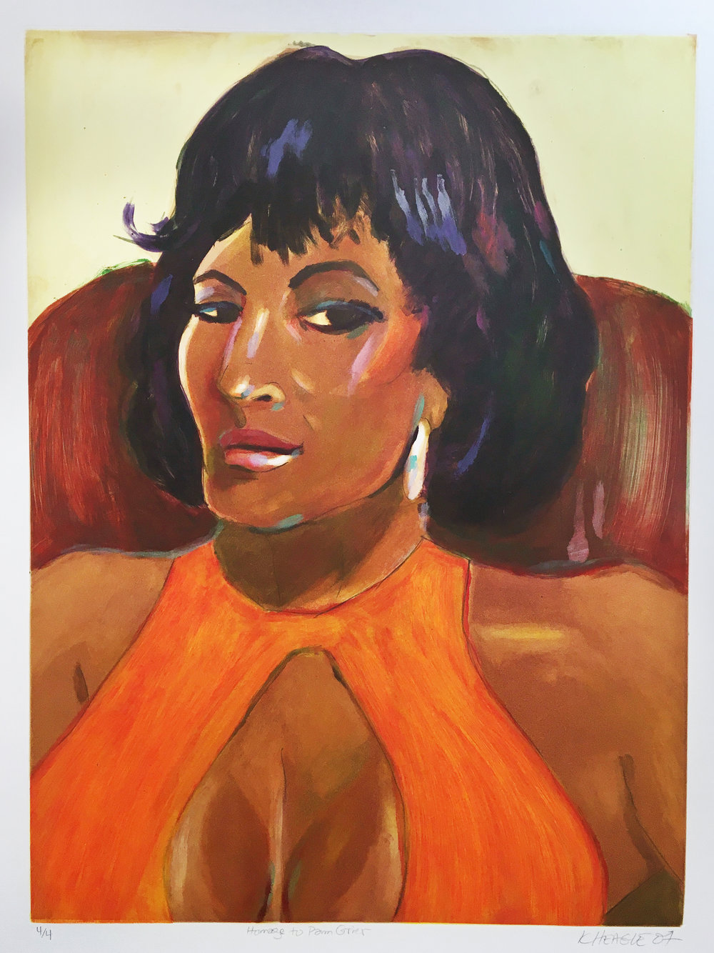 Homage to Pam Grier (IV) , 2007 Monotype Image size: 24 x 17.5 inches Paper size: 30 x 22 inches Series of 4