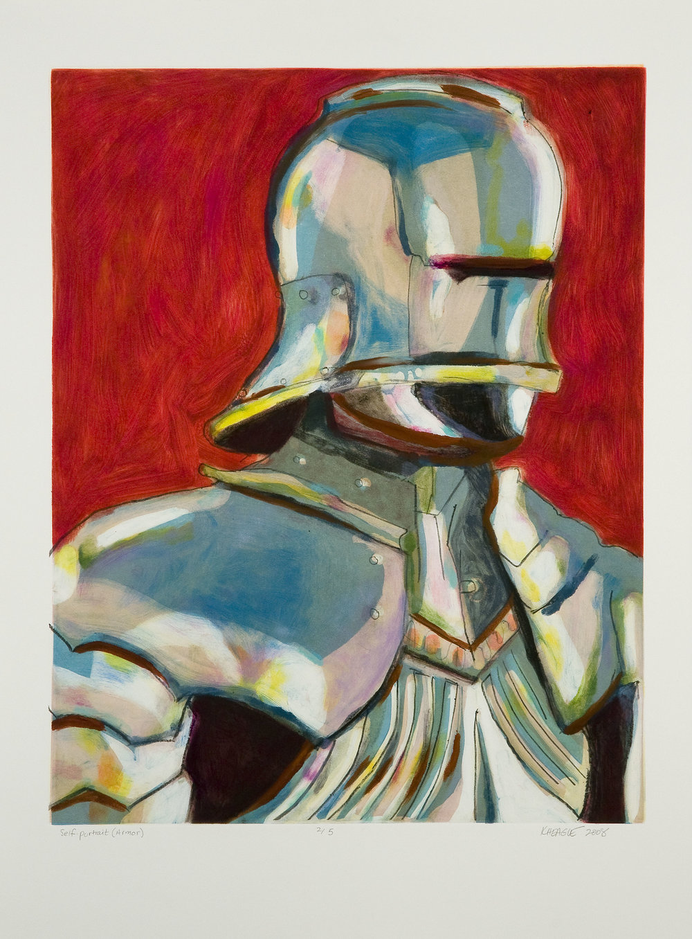 Karen Heagle  Self Portrait (Armor) (II) , 2008 Monotype Image size: 18.75 x 23.75 inches Paper size: 22 x 30 inches Series of 5