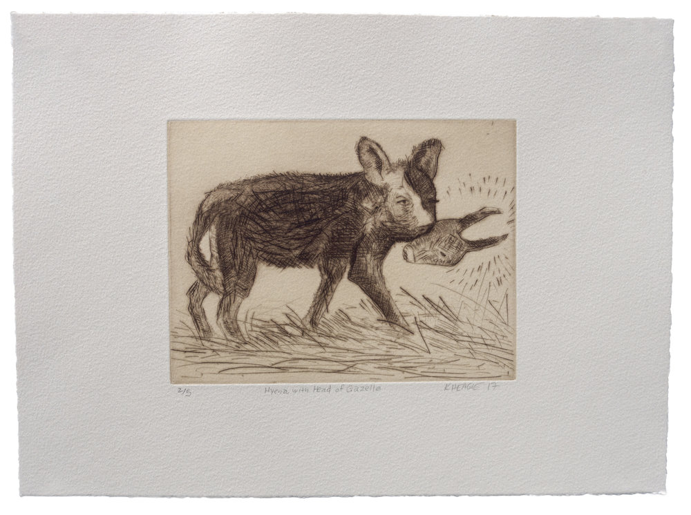 Hyena with Head of Gazelle , 2017 Drypoint Image size: 6 x 8 inches Paper size: 11 x 13 inches Edition of 5