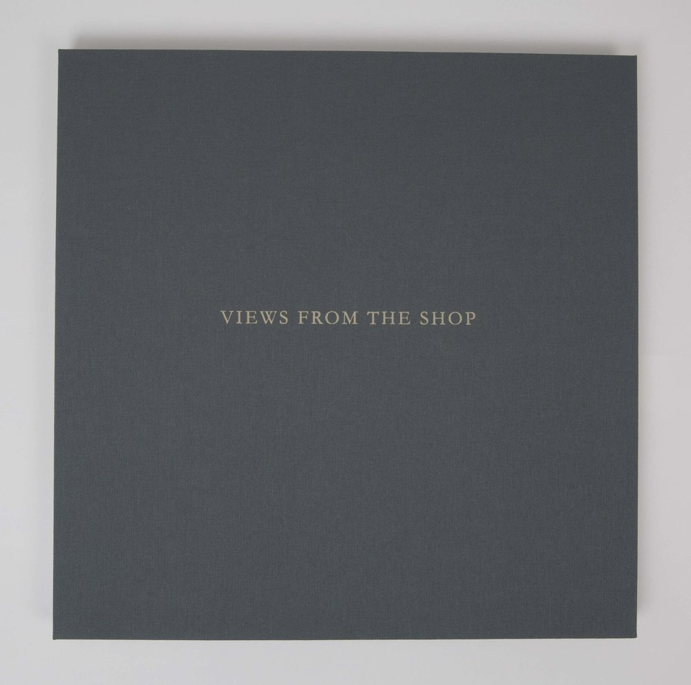 Views from the Shop (Blue Grey) , 2016 Monotype Book (Cover) Image size: 7 x 7 inches Book size: 12.25 x 12.25 inches Edition of 10 books with 8 unique monotypes