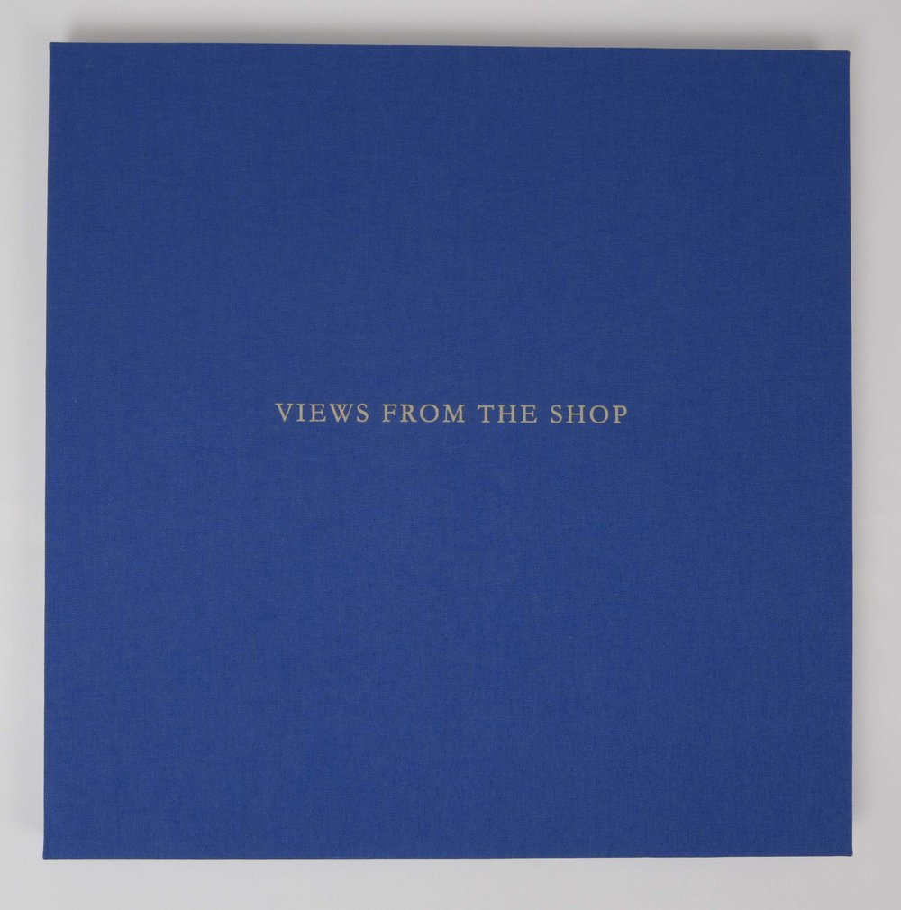 Views from the Shop (Blue) , 2016 Monotype Book (Cover) Image size: 7 x 7 inches Book size: 12.25 x 12.25 inches Edition of 10 books with 8 unique monotypes