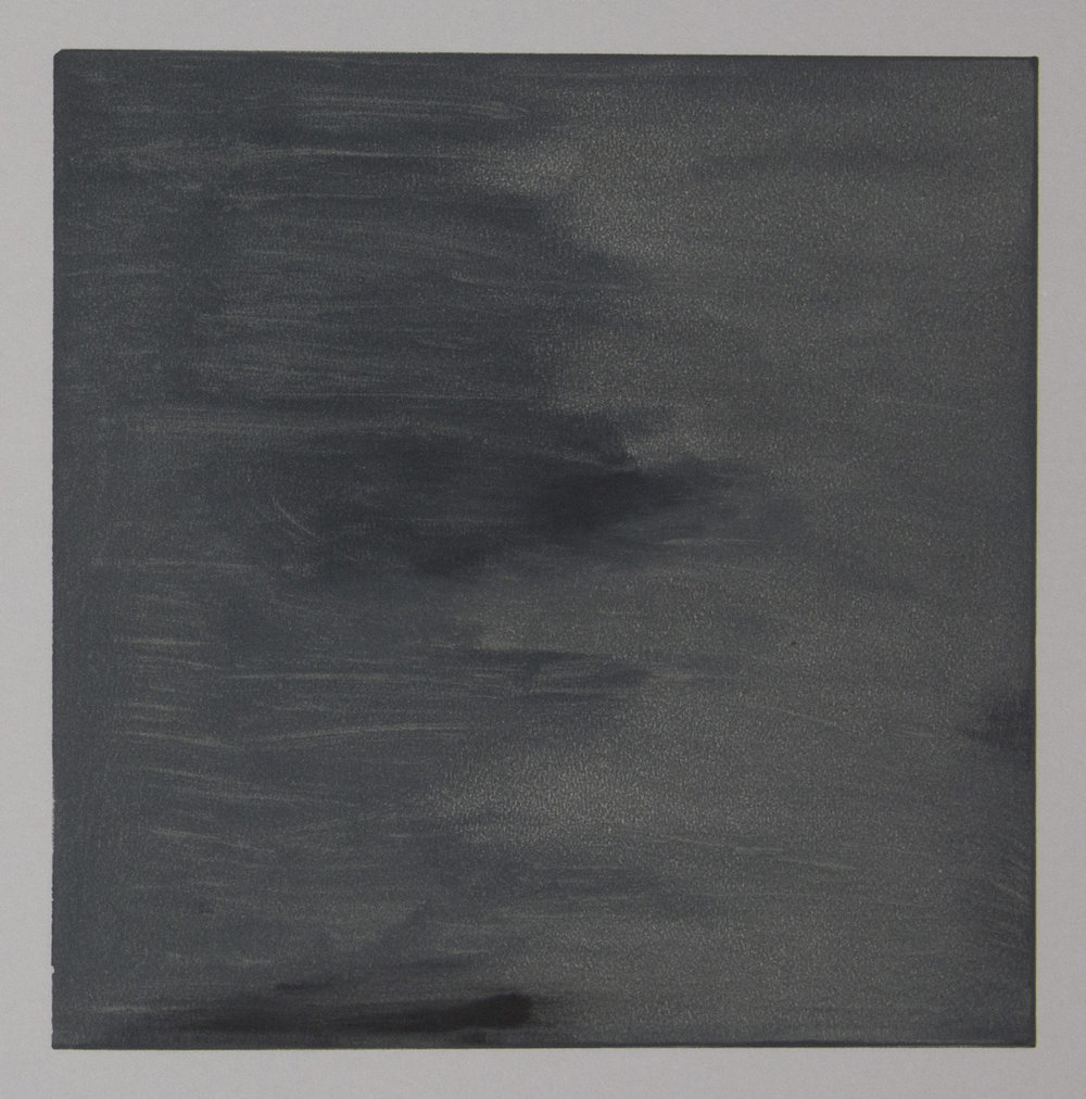 Views from the Shop (Dark Grey) , 2016 Monotype Image size: 7 x 7 inches Book size: 12.25 x 12.25 inches Edition of 10 books with 8 unique monotypes