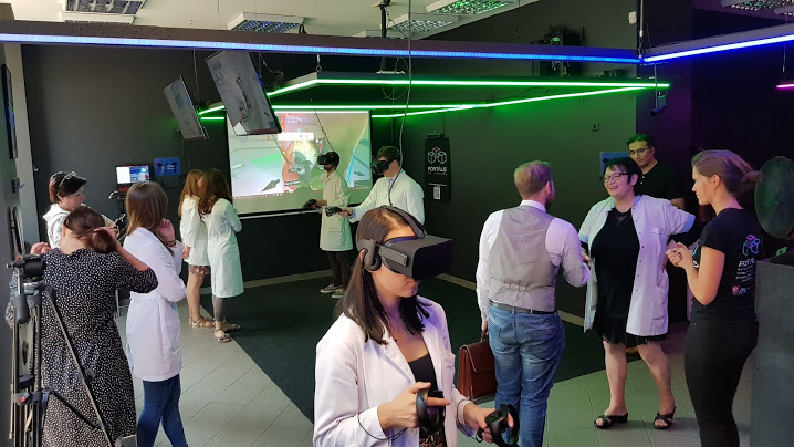 VR Medicine: every week we provide to small groups of 12 students Medical VR training and exercises. Probably first of it's kind in Europe.