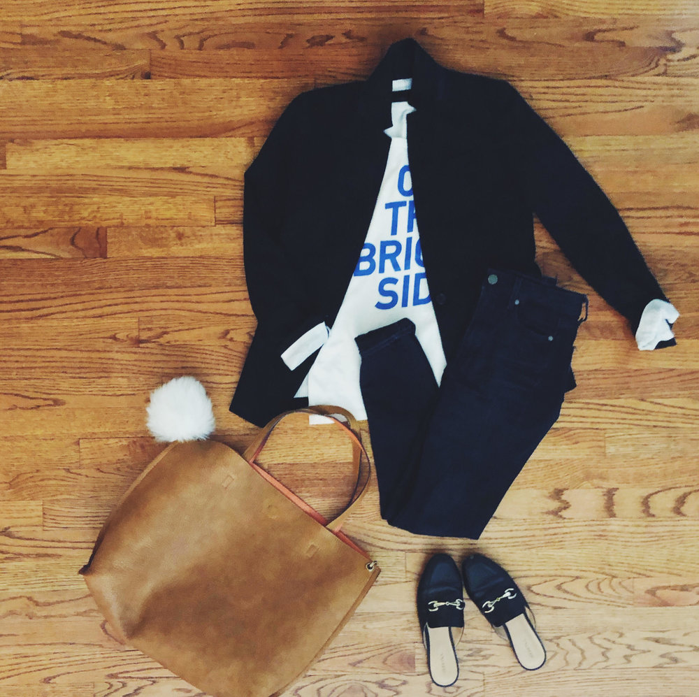 T-Shirt & Blazer:  JCrew , Jeans:  Paige , Slides:  Target , Bag:  Free People