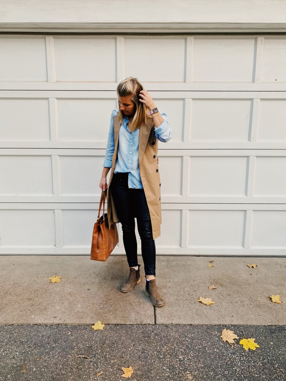 Outfit Details:  Chambray Shirt: Cloth and Stone, Trench Vest: Target, Leather Pants: Anthropologie, Boots: Steve Madden, Bag: Target