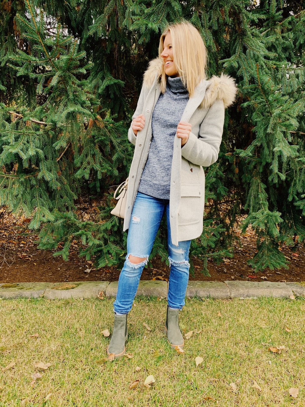 OUTFIT DETAILS:  COAT:  JCREW , SIMILAR STYLE SWEATSHIRT:  H&M , Jeans: Madewell, Boots:  Timerland , Purse: Kate Spade