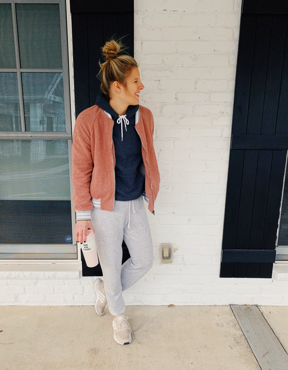 OUTFIT DETAILS:  Similar Style jacket:  Nordstrom , Sweatshirt:  American Apparel , Sweatpants:  Madewell