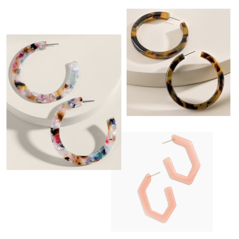 (Clockwise)  1.  Jasmine Flat Marbled Resin Hoops  - $20  2.  Charley Tortoise Hoops  - $20  3.  Madewell Oversized Geometric Hoops  - $26