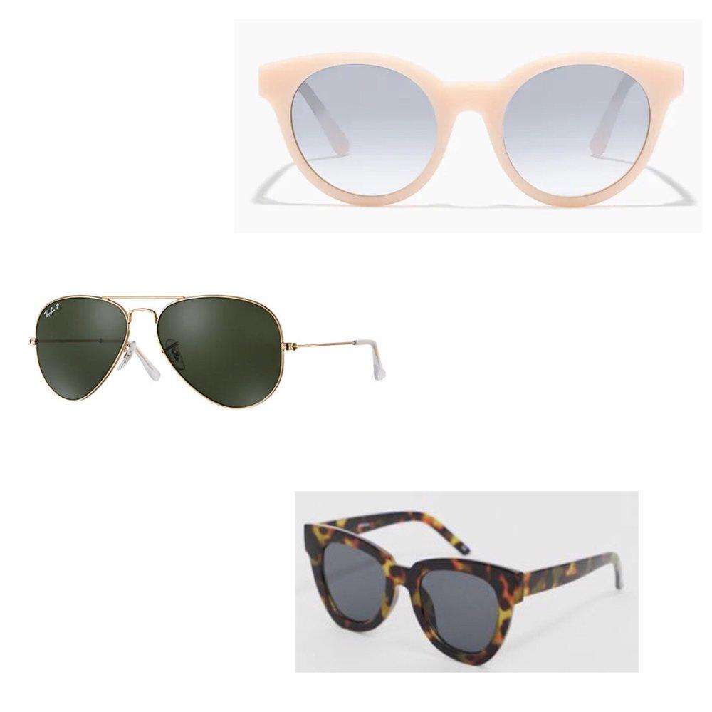 (Top to Bottom)  1.  J.Crew Round Frame Sunglasses  - $60  2.  Ray-Ban Aviator Classic  - $203  3.  Asos Chunky Flare Cat Eye Sunglasses  - $19