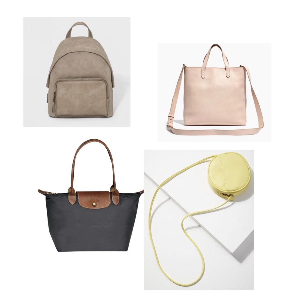 (Clockwise)  1.  Target Mini Dome Backpack  - $28  2.  Madewell Zip-Top Transport Crossbody  - $128  3.  Urban Outfitters Lydia Circle Crossbody  - $29  4.  Longchamp Le Pliage Tote Bag  - $125