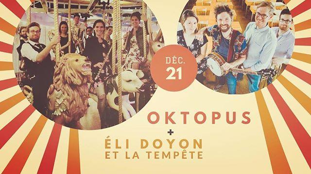 Notre prochain show à #montreal à la #salarossa avec la belle gang de @elidoyon.musique. est dans un mois! Commencez votre temps des fêtes en douceur avec nous ❄️☃️🎄💃🏼#oktopus #klezmer #brass #christmas #doublebill #folk #banjo #explosiondejoievacanciere