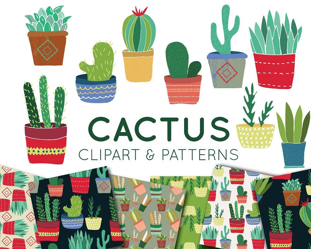 Kaktus Clip Art: SarahPurpleDesigns/Etsy