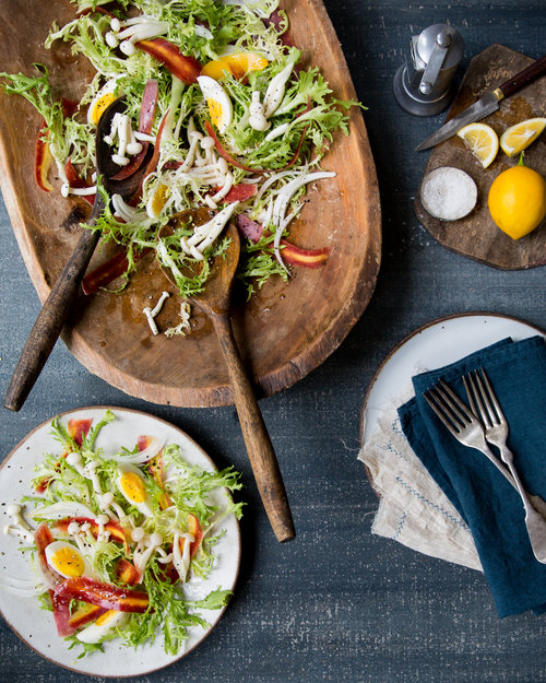 Meyer Lemon-Marinated Pioppini and Frisée Salad