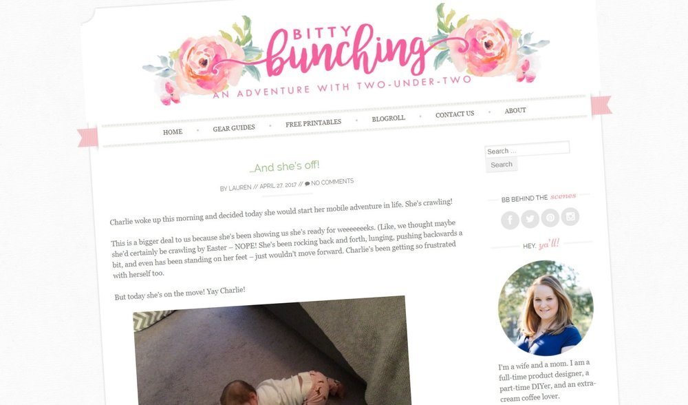 Bitty Bunching Blog: A self-run personal blog website created with Wordpress. All logos, graphics, and blog posts are my own.