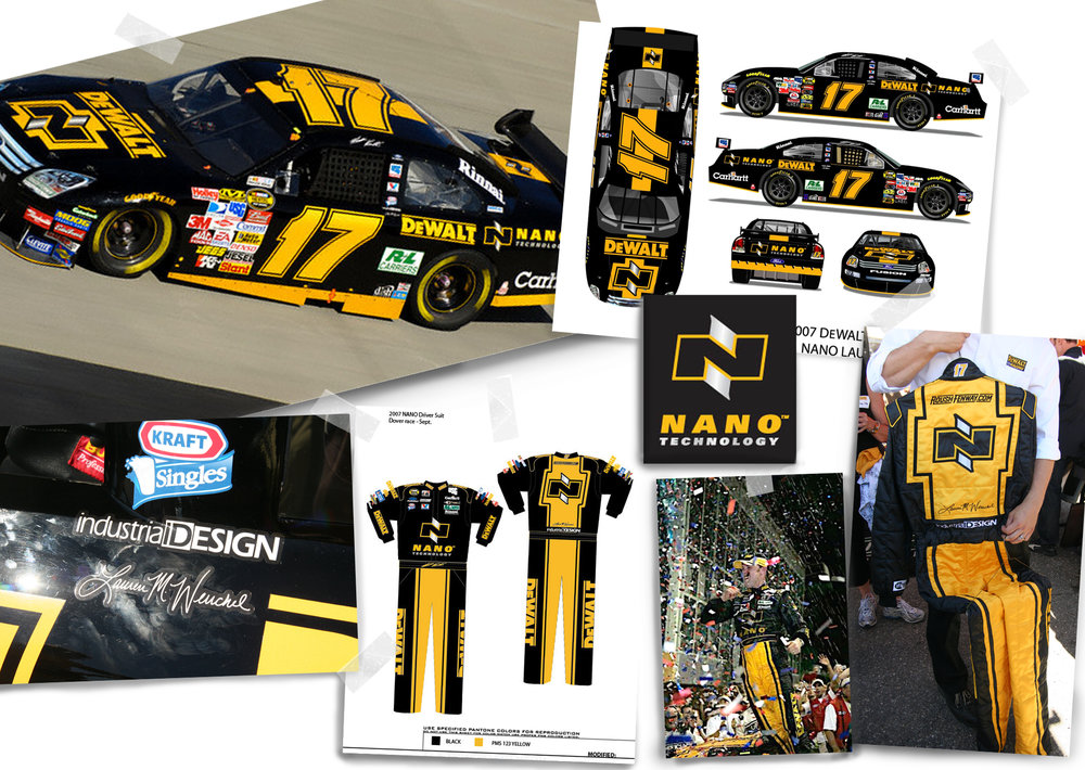 DEWALT NANO LOGO + NASCAR SPECIAL EDITION CAR + FIRESUIT Car and firesuit design using the launch of DEWALT NANO Technology for inspiration and promotion. Special Edition - September 2007. Selected design (with editing) for full 2008 season.