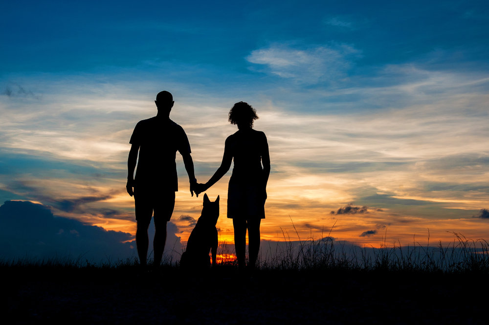 Paola-Paladini-Sunset-Silhouettes-Dog-Couple-Holding-Hands