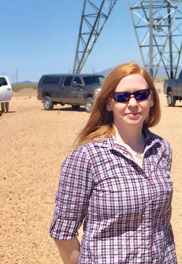 Jen in the field for the Ten West Link 500-kV transmission project being developed to facilitate solar interconnection to the grid near Blythe, CA