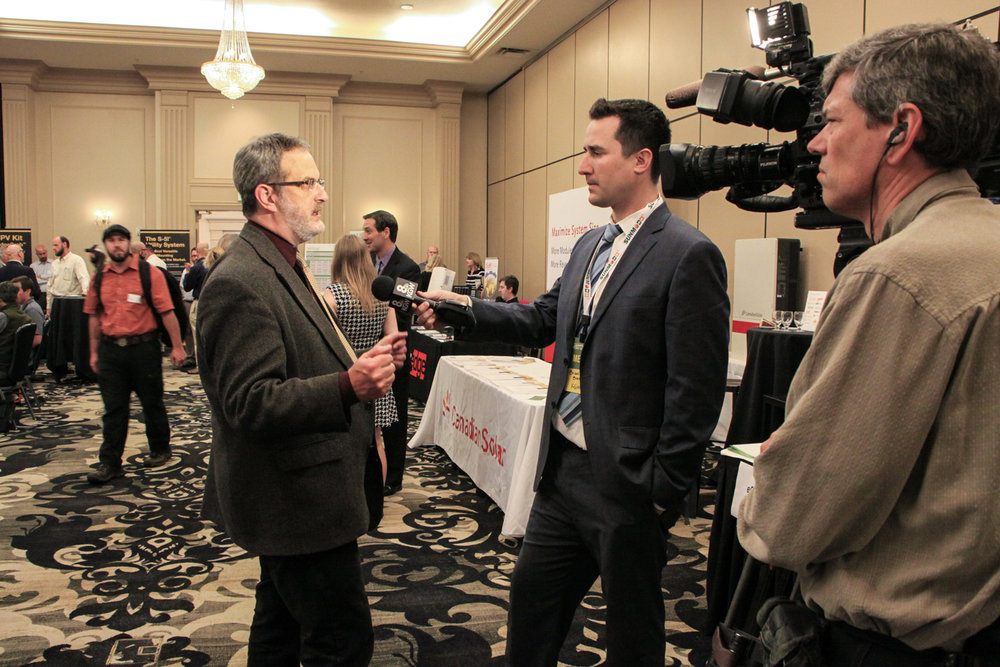 Jeff being interviewed by KGW news at the 2016 Oregon Solar Energy Conference.