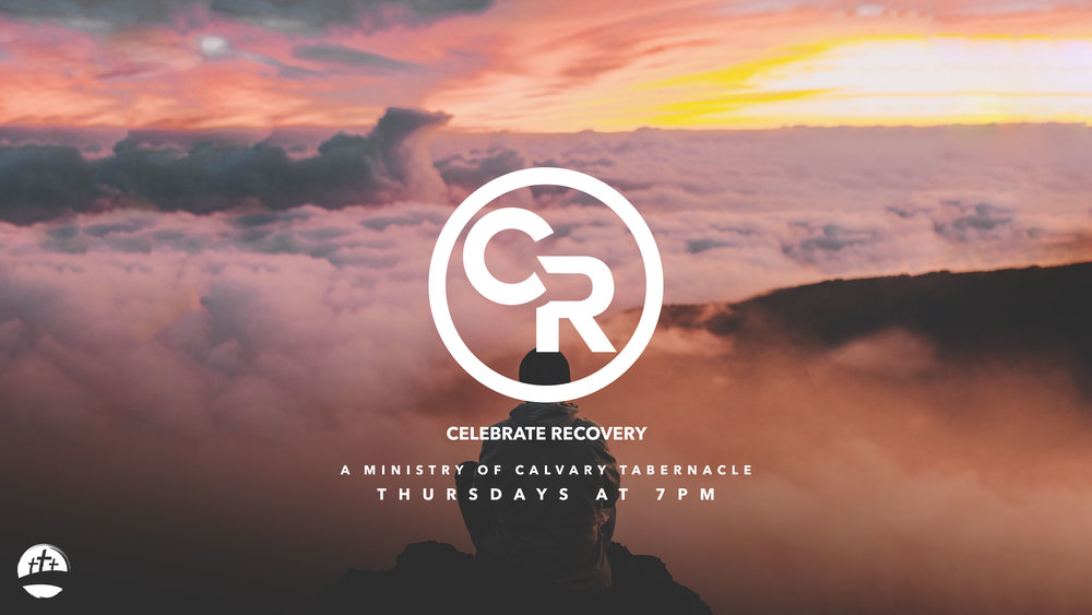CELEBRATE RECOVERY - EVERY THURSDAY AT 7PM  The purpose of Calvary Tabernacle's Celebrate Recovery is to fellowship and celebrate God's healing power in our lives through the 12 Steps and 8 Recovery Principles.   Join us every Thursday at 6:30 as we all continue to grow and develop in Christ.