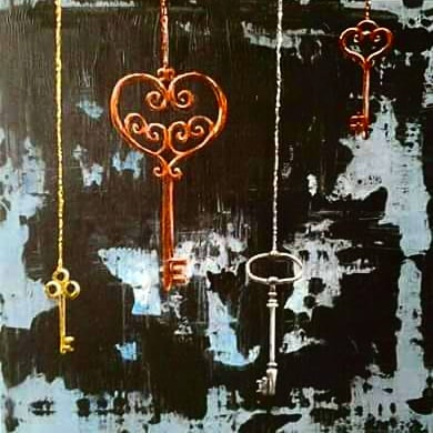 #skeletonkey painting from a while back. I love the distressed background :) #funart #keys #paintandsip #artparty #localartist #orangecounty #huntingtonbeach #supportsmallbusiness #supportlocalartists #wallart #painting #acrylicpainting