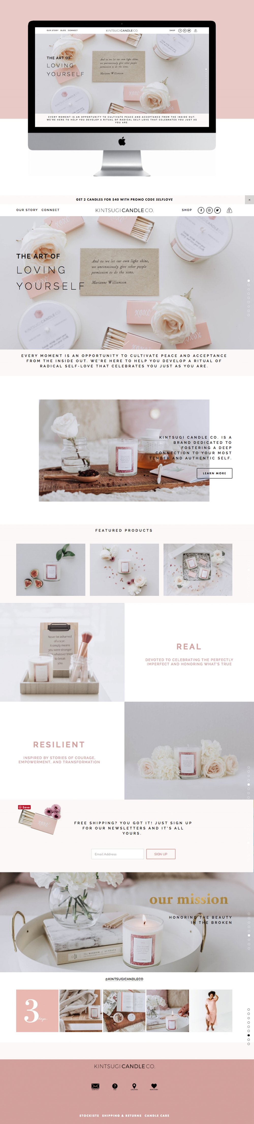Feminine Pink Ecommerce Website Design for Aromatherapy Candle Company - Kintsugi Candle. Co