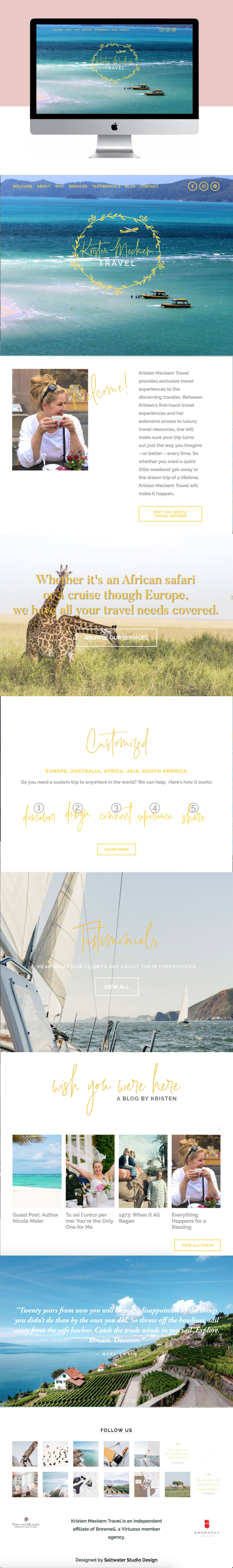 High End Clean Website Design for Luxury Travel Agent