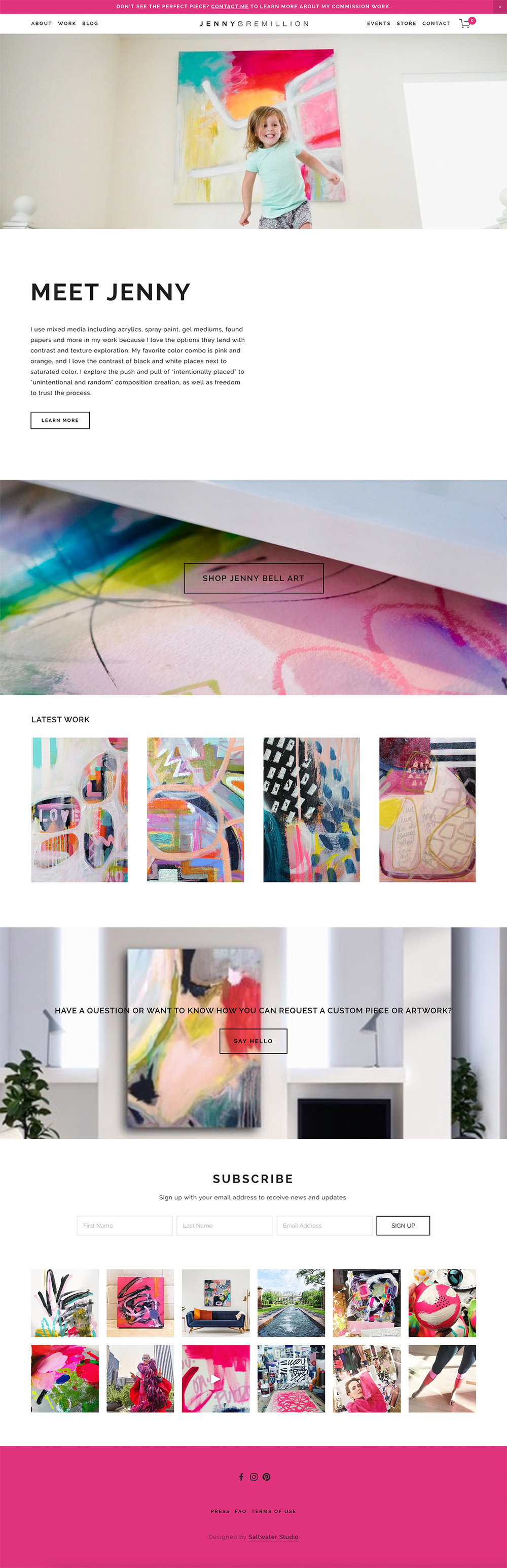 Artist Website Design Bright and Airy with Splashes of Color,  Abstract Expression Artist Website Design