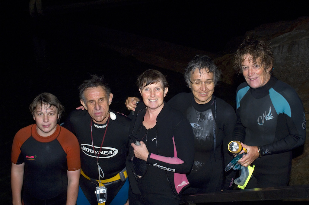 Dillon, John, Sam, Angelika and Liz after their night snorkel at the Bermagui Bioblitz
