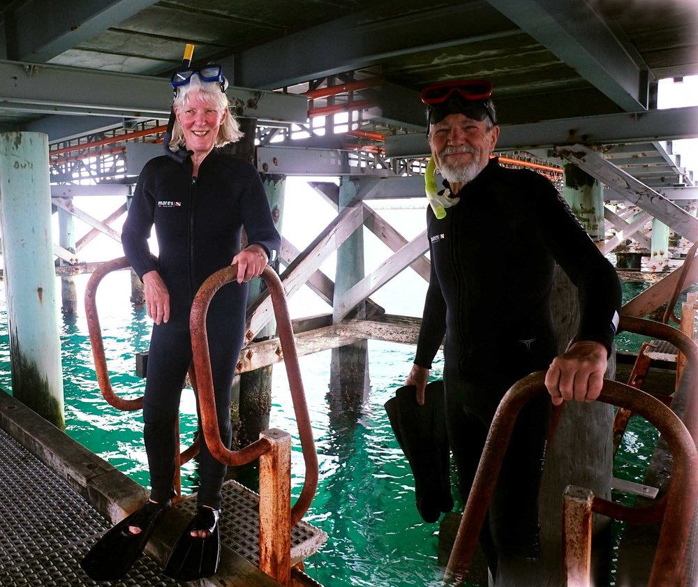 Figure 5. Jenny & Roy under Busselton Jetty. WA