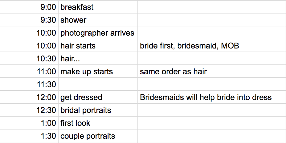 wedding timeline example