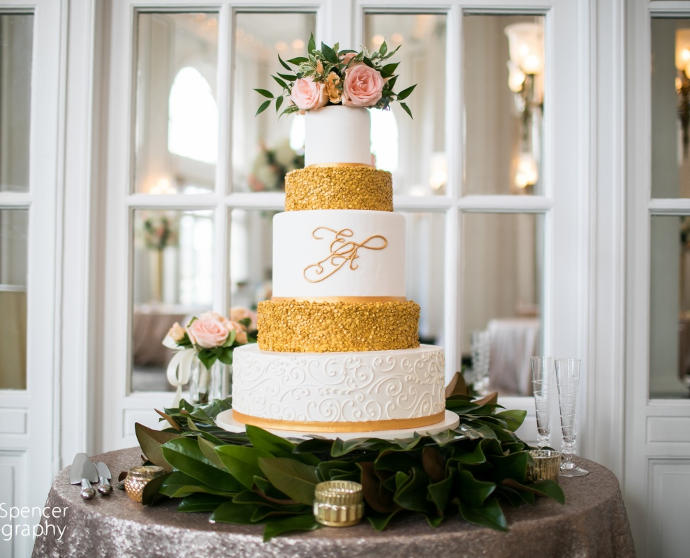 wedding - 4 tier gold_sequin_with_monogram.jpg
