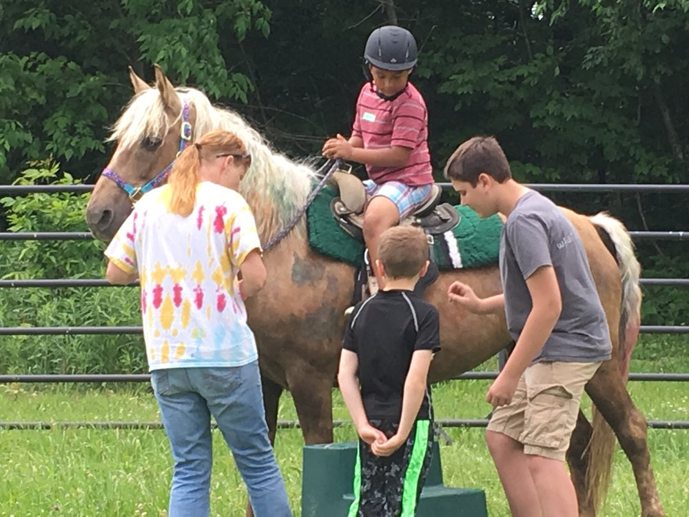 Children LEARN Confidence - it is very empowering for a child to sit on an 800 - 1200 lb animal and be in charge. More progress can be accomplished with a child on a horse in five minutes than in six months of traditional therapy.