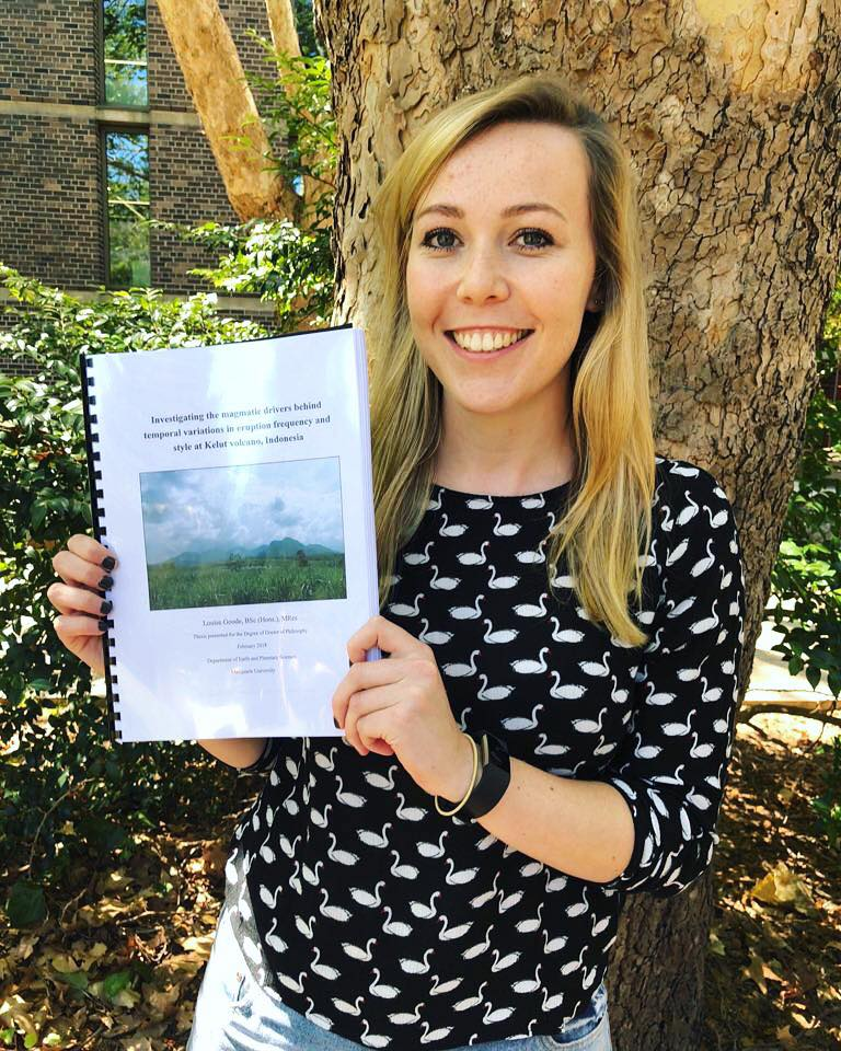 Louise Goode submitting her PhD thesis in February 2018