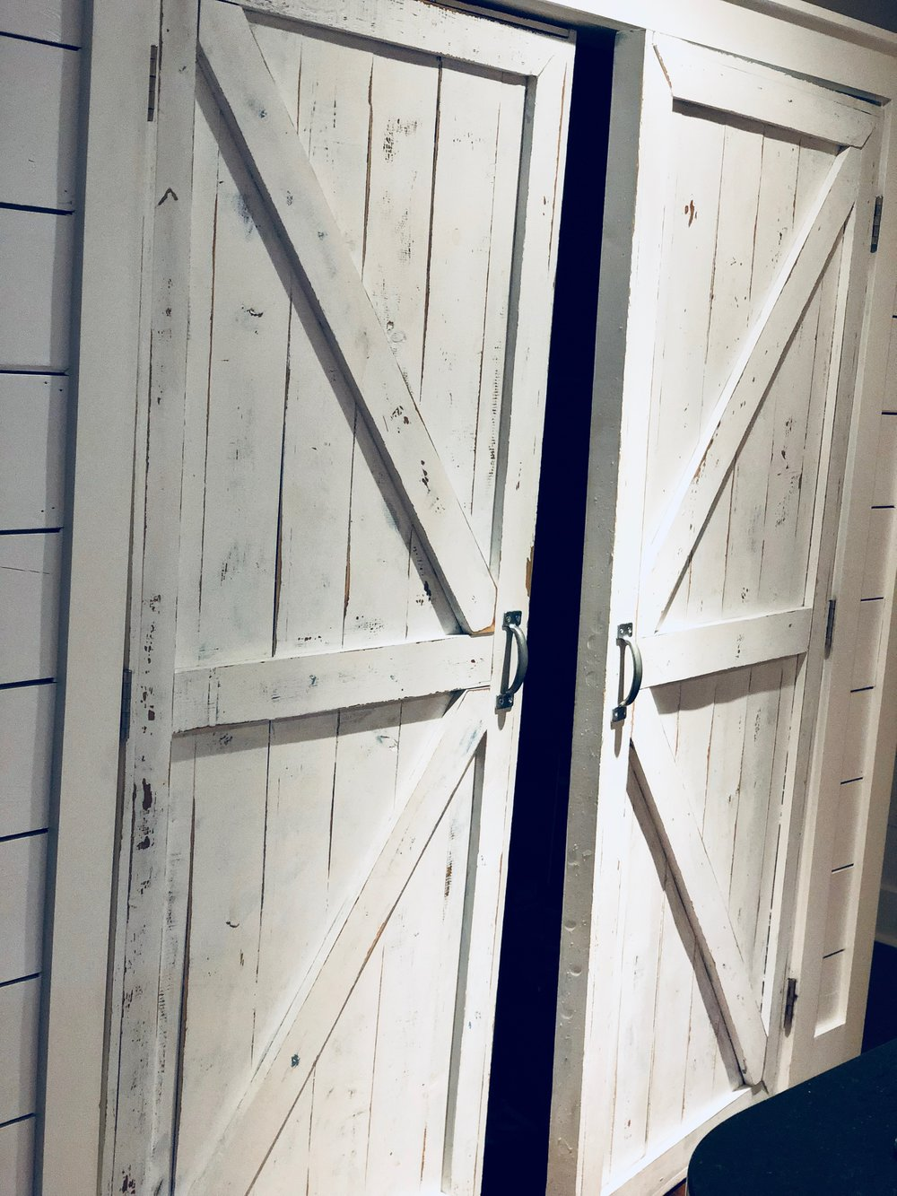 I just adore my pantry barn doors because Brian built them from scratch! They are a focal point of our kitchen and tons of hard work went into making them. They're a true labor of love.