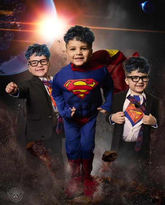 Maddox dressed as SUPERMAN with the help of the non-profit, So Many Angels.