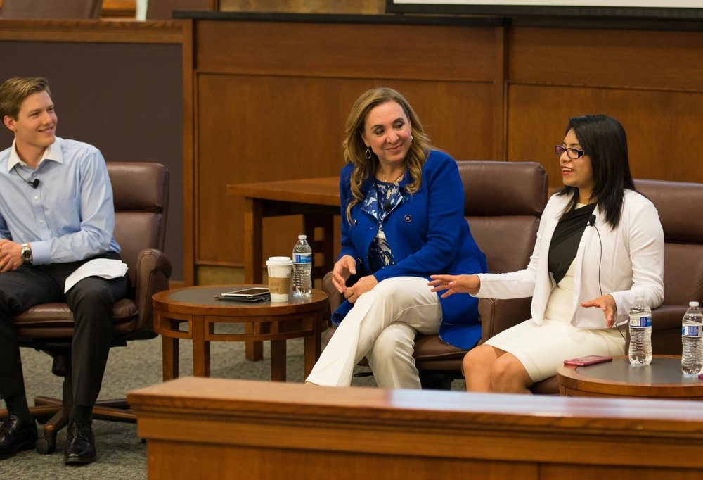 Noemi speaking at an event on human trafficking at the University of Colorado Law school.