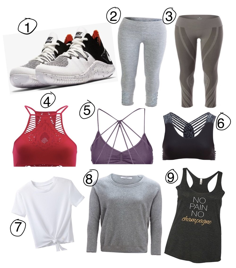 1)   Nike- Free TR FlyKnit 3   2) Yogalicious- high waist leggings with criss cross cut-outs  3) Nux- Ava Tights  4)  Free People- Hanalei Seamless Bra   5) Free People- Seamless Strappy Back Bra  6) Uintah- Zoe Bra   7) Prana- Lynette Top  8) Project Social T- Raglan Sweatshirt   9)  Panoware- Funny Workout Tank Top