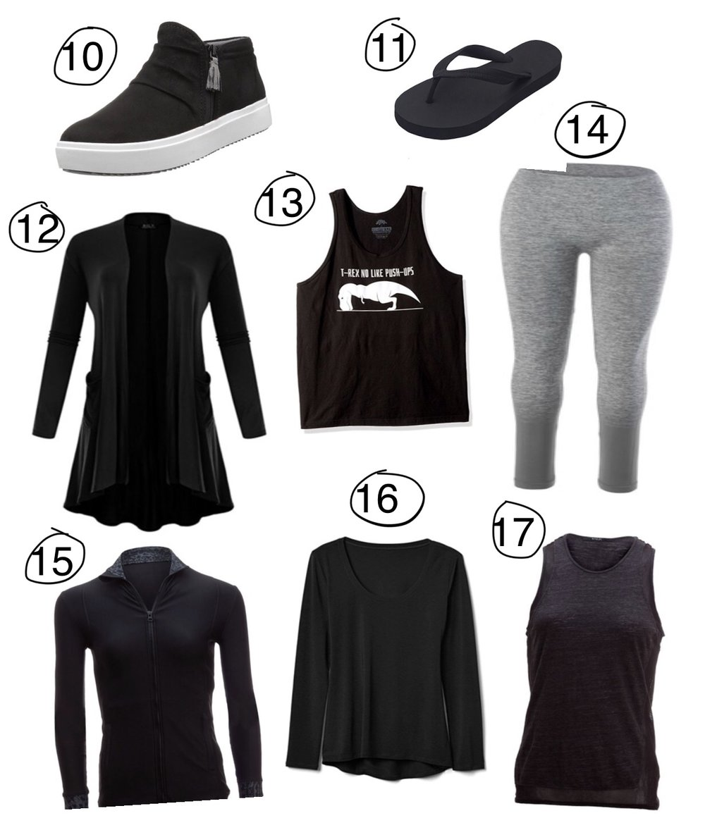 10)  Dr. Scholl's- Wander Ankle Boot    11)  Hipper- Rubber Flip Flops    12)  BILY- Lightweight Jersey Cardigan    13)  Ann Arbor T-shirt Co- T-REX NO LIKE PUSH-UPS tank top    14) Sweet Romeo Active- Compression Ombré Legging   15) Uintah- Sloan Jacket   16)  Mippo- Backless Workout Yoga Shirt    17) Nux- Toby Tank Top