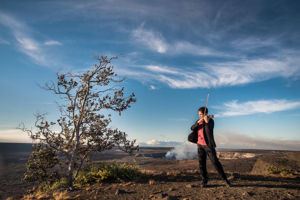 Eric Silberger, opening Season 1, overlooking Halemaʻumaʻu Crater