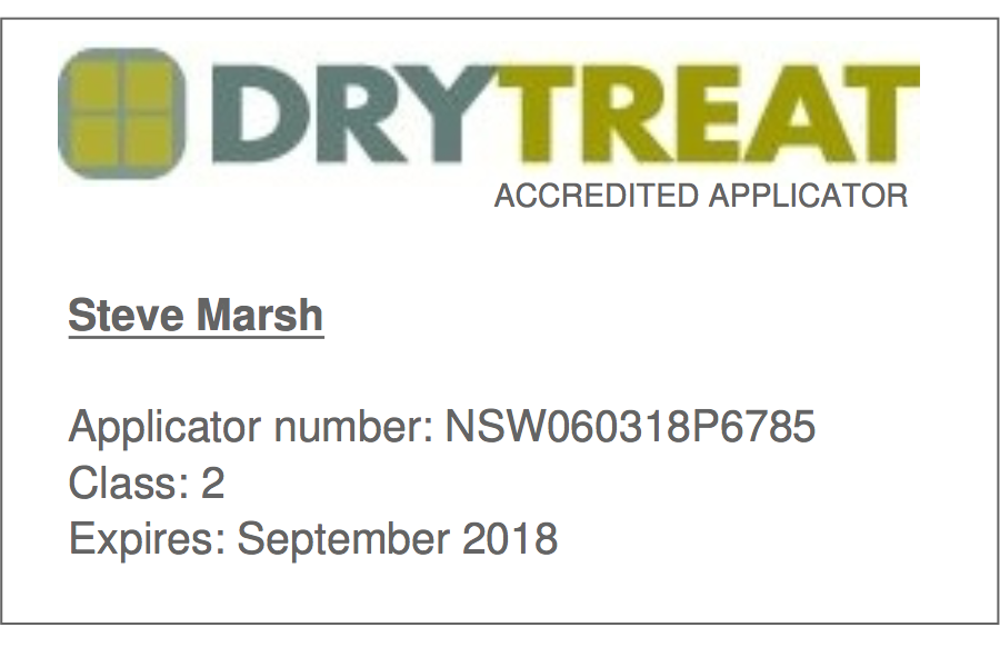 Dry Treat Applicator accredited